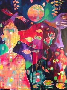 """Stillness In Motion""    acrylic on canvas         40"" x 50"""