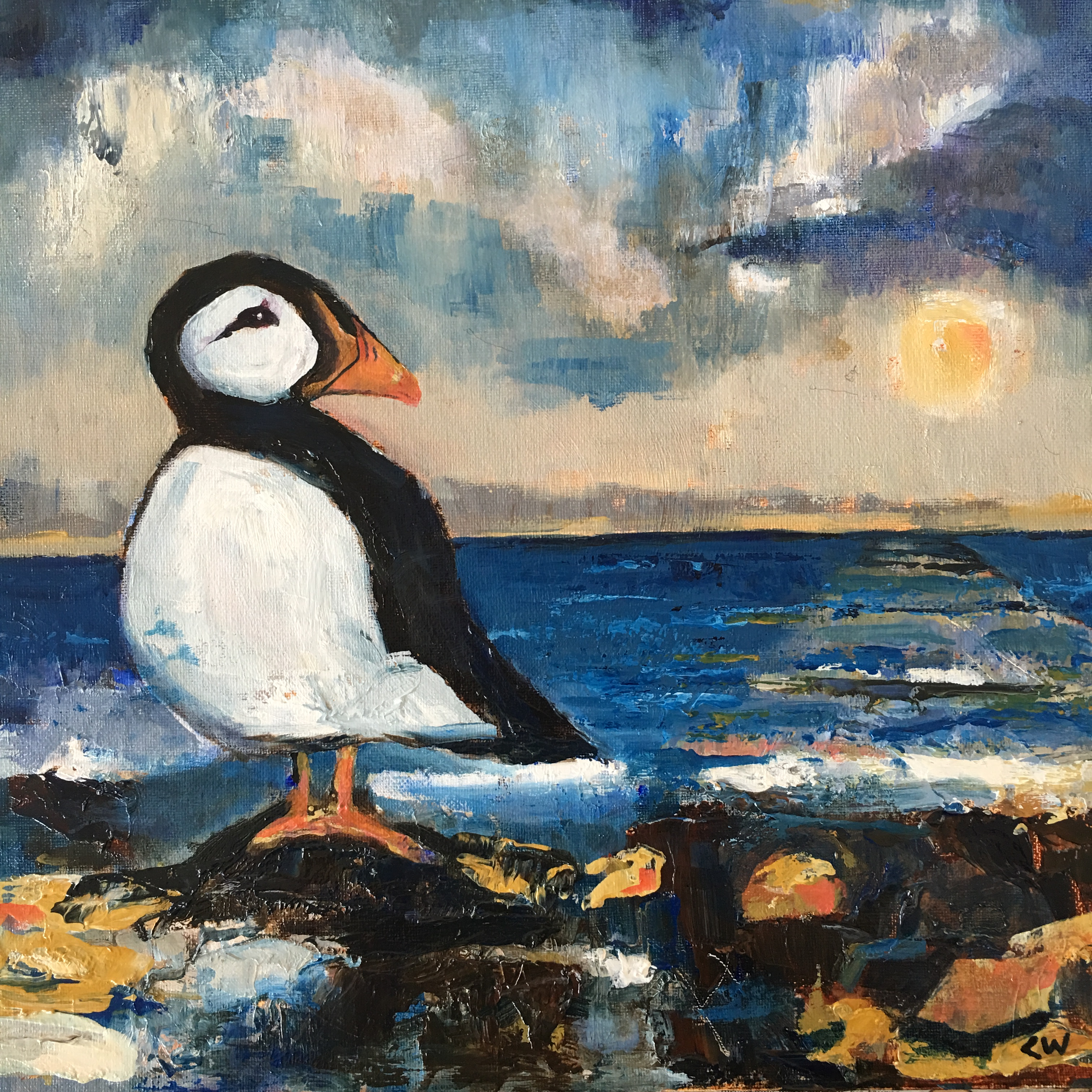 puffin oil painting