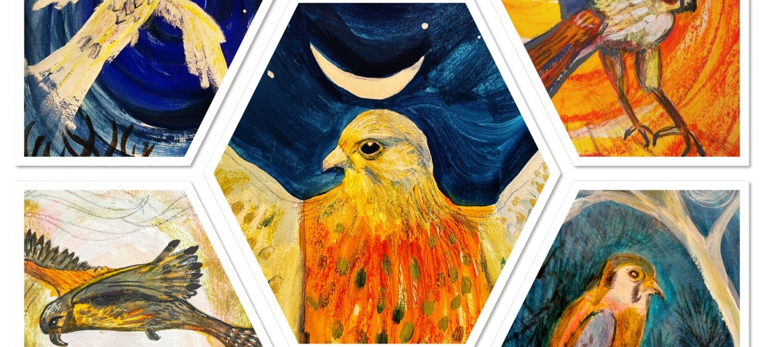 birds in paint and crayon for Folktale week 2020